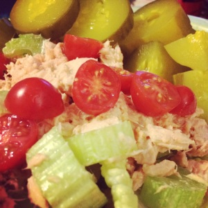 Last night's dinner - Tuna with sriacha, celery and tomatoes on lettuce with a dill pickle on the side!