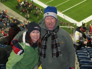 Emily and her Dad at a Patriots game